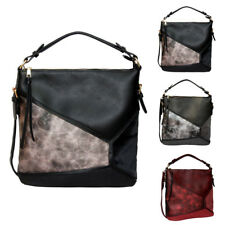 Womens Marble Panel Leather Slouch Tote Shoulder Bag Crossbody Messenger Handbag