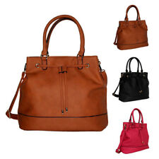 Womens PU Leather Drawstring Tote Shoulder Bag Crossbody Hobo Shopper Handbag