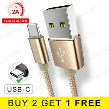 1M 2M USB 3.1 Cable Braided USB Type C Fast Charger USB C Data Cable Lead - Gold