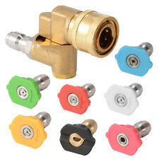 Angle Adjustable Quick Connect Pivot Coupler + Nozzle Tips for Pressure Washer