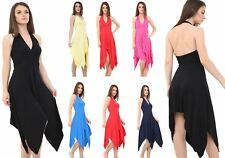 WOMENS LADIES SLEEVELESS ASYMMETRIC HEM BACKLESS HALTERNECK DRESS PLUS SIZE 8-26