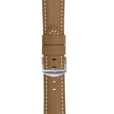 Panerai Style padded Calf Leather Watch Strap in CARAMEL Tan Brown