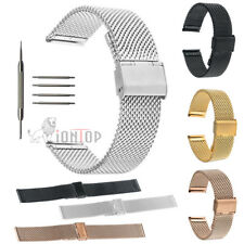18/20/22/mm Stainless Steel Watch Mesh Band Strap Double Clasp Wrist Bracelet