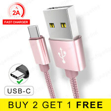 1M 2M USB 3.1 Cable Braided USB Type C Fast Charger USB C Data Cable Rose Gold