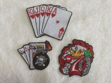 Playing Cards -  Biker Patches / Badges - Embroidered - Sew On Breast - Options