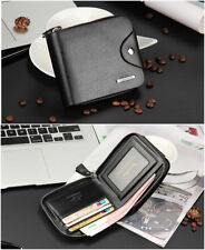 Hot New Mens PU Leather Wallet Zip Around Business Checkbook Mens Short Purse