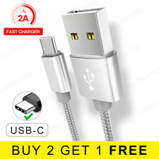 1M 2M USB 3.1 Cable Braided USB Type C Fast Charger USB C Data Cable Lead Silver