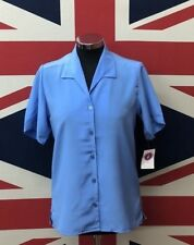 New Ladies Lagoon Blue Short Sleeve Blouse Style Shirt Formal Business Wear