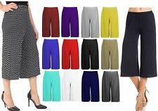 Ladies Women's Palazzo Elasticated Stretch Wide Leg Culottes Shorts 3/4, 8-26
