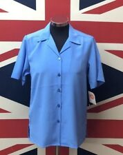New Ladies Lagoon Blue Short Sleeve Blouse Style Shirt !!BUY ONE GET ONE FREE!!