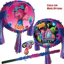 Trolls Pinata set Poppy Branch Kids Smash Party Fun Stick Pink Blue birthday UK