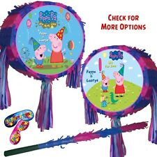 Peppa Pig Pinata set Kids Smash Party Fun Stick Pink Blue theme park Multi