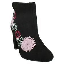 FELICITY DOLCIS ZIP UP FLORAL EMBROIDERED BLOCK HEELS POINTED TOE ANKLE BOOTS
