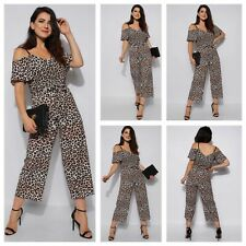 New Womens Ladies Leopard Cold Shoulder Top Palazzo Style Cami Culotte Jumpsuit