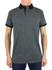 Weekend Offender Mens Golding Stripe Polo Shirt in Navy Blue