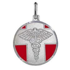 Sterling Color Argento Rossa Smalto Medical Allarme Pendente / Pendente,Made in