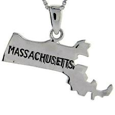 Sterling Color Argento Massachusetts State Mappa Pendente/Pendente,45.7cm