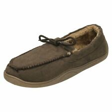 Spot On Mens - Moccasin Faux Fur Lined Slippers