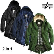 Alpha Industries Giacca Uomo Fishtail Tt 2 in 1 Uomo Giacca Parka Bomber Nuovo