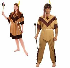 Mens Womens Native Brown Indian Squaw Pocahontas Fancy Dress Book Costume Outfit