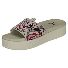Puma Platform Digital Embroidery Womens Off White Multicolour Suede Slide
