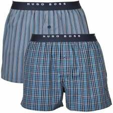 HUGO BOSS Underwear Men's 2 Pack Loose Cotton Woven Boxers Shorts Blue Shades