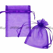 Purple Organza Gift Favour Bags Wedding Jewellery Drawstring Pouches