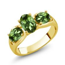 1.70 Ct Oval Green Tourmaline 18K Yellow Gold Plated Silver Ring