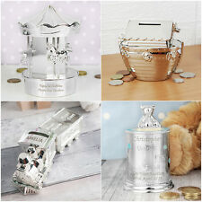Personalised Silver Plated Money Box Carousel Noah's Ark Train Christening Gifts