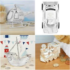 Personalised Silver Plated Money Box Helicopter Car Train Fire Engine  Gifts