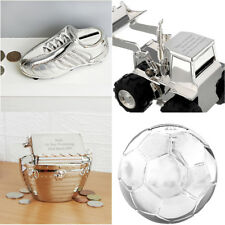 Childrens Personalised Silver Plated Money Box Football Digger Noahs Ark Gifts