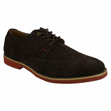 MENS HUSH PUPPIES DARK BROWN SUEDE BROGUE LACE UP FORMAL SHOES  FOWLER EZ DRESS