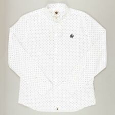 PRETTY GREEN Mens Horlock Long Sleeve Polka Dot Shirt in WHITE