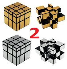 SILVER + GOLD 3X3X3 Speed Mirror Cube Super Smooth Magic Puzzle Portable Toy Gif