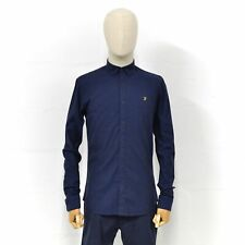 FARAH Mens Steen Slim Fit Long Sleeve Shirt in True Blue