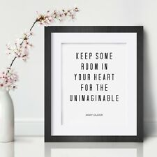 Mary Oliver Inspirational Wall Art Print Motivational Quote Poster Decor Gift