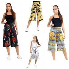 WOMENS LADIES FLORAL PRINT 3/4 LENGTH SHORT PALAZZO TROUSERS CULOTTES PANTS 8-26