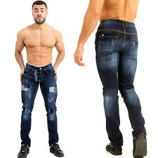 Mens Designer Painted Spot Stretch Slim Fit Patch Denim Jeans Fashion Zip Pant