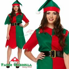 ELF LADIES  COSTUME XMAS FANCY DRESS SANTA LITTLE HELPER WITH STRIPY TIGHT R/G