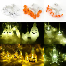 10x Halloween Party LED Fairy String Lights Pumpkins Spiders Skeleton Decor 1.3M