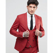Red Men's Suits Slim Fit Shawl Lapel Groom Tuxedos Best Man 3 Piece Wedding Suit