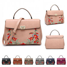 Womens Floral Faux Leather Crossbody Handbag Satchel Messenger Shoulder Bag