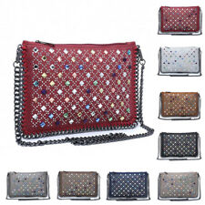Womens Chain Trim Faux Leather Medium Crossbody Handbag Messenger Shoulder Bag