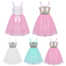 Kids Girls Party Ballet Sequin Flower Dance Dress Ballerina Dancewear Costume