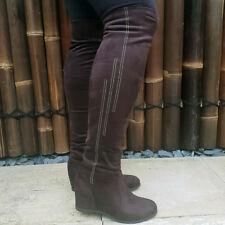WEDGE heel OVER THE KNEE Boots Womens Brown Diamante Stretch Faux Suede Ladies