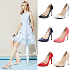 WOMEN LADIES COURT SHOES Patent Leather High Heel Stiletto Pumps Office All Size
