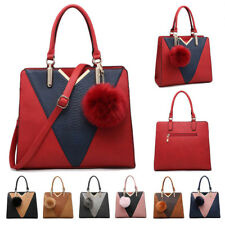 Womens Pom Pom Faux Leather Large Tote Crossbody Handbag Shopper Shoulder Bag