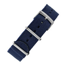 Premium Thick NATO Watch Strap in NAVY BLUE with Brushed Steel Hardware