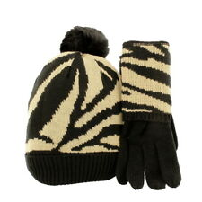 Pia Rossini Alessia Matching Bobble Hat & Gloves Gift Set Black/Camel
