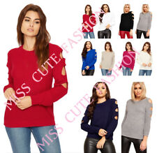 NEW WOMENS LADIES SOFT WARM LONG CUT OUT SLEEVE KNITTED COLD SHOULDER JUMPER TOP